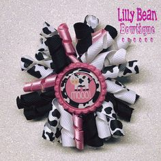 Cow korker bottle cap bow by LillyBeanBowtique on Etsy