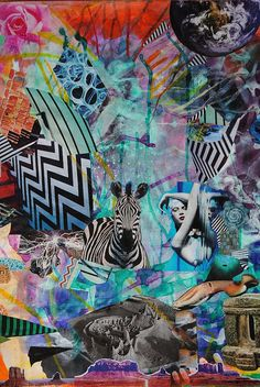 Zebra and chevron stripes. Teals and explosion of color. Collage by John Turck Art