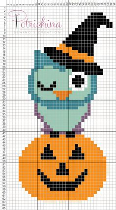 gufo gufi Happy Halloween - schema punto croce - cross Stitch - Kreuzstich - Punto de Cruz