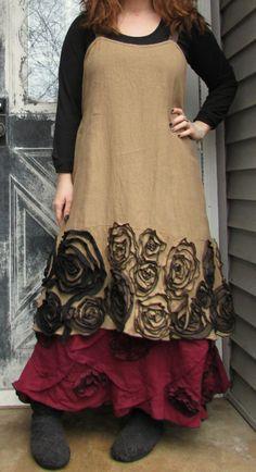 Ginger Linen New Rose Flower Dress L by sarahclemensclothing, $169.00