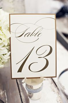 Gold Table Numbers, Wedding Table Numbers