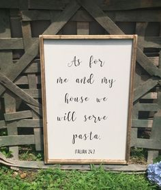 As for me and my house we will serve pasta! These personal signs are great for the kitchen and dining room area! We have a whole collection, so check out our kitchen collection and see whats right for you! #kitchen #homedecor #eatinghealthy #food #rice #sushi #diy #cute #farmhouse #rustic #decor #pasta #recipe