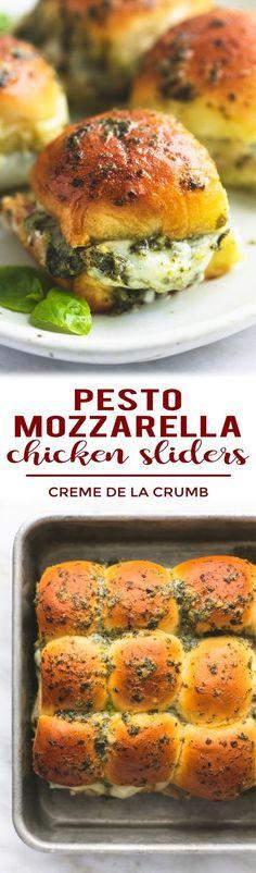 pesto mozzarella chicken sliders