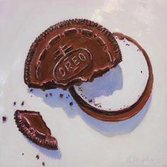 "Beverly Shipko, ""Graham's Oreo Cookie"", Oil painting on panel, 6 x 6 inches. #bevsbites #30paintingsin30days #oreo"