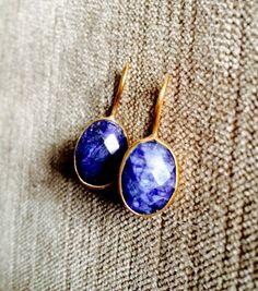SOLD Sapphire earrings Gold real Blue Sapphire by SheRocksGemjewellery