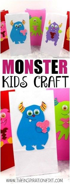 Valentines Treat Bags Monster Style Today I have the most adorable Valentines Treat Bags to share. Download Your Free Template here: #valentinesdaygift #Valentinesday #crafting #craftsforkids #kidscraft #art #valentinesideas #valentines #craftsforkids #crafting #KBNMOMS #Monstercraft #Lovemonsters #favours #valentinesbags #valentinesgift #valentinesgiftidea