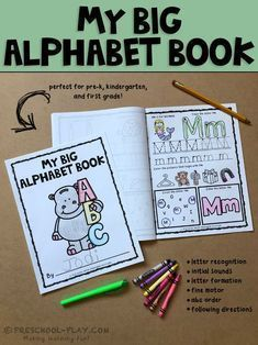 Printable alphabet book worksheets (A-Z) for preschool, pre-k, kindergarten, and 1st grade.