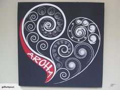AROHA CANVAS KIWIANA NZ | Trade Me Fun Craft, Craft Ideas, Maori Symbols, Maori Patterns, Halloween Wood Crafts, Flax Flowers, Arts And Crafts Storage, Maori Designs, Nz Art
