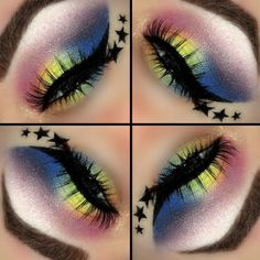 Wearing this rainbow eye shadow requires a brave and exotic soul! Sport this wild eye look with these gorgeous shades if you want to stand out.