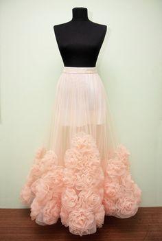 Skirt with roses Tulle skirt Tutu Skirt Wedding by DressRoses