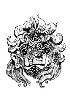 Mask Drawing, Cool Tattoos, Awesome Tattoos, Barong, Adult Coloring, Colouring, Japanese Characters, Balinese, Tattoo Designs