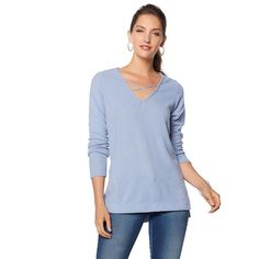 6aae57ce820f3 Rhonda Shear Crisscross V-Neck Long Sleeve Top - 8476744