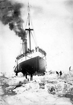 Workers cutting the S.S. Portland out of Bering Sea ice off of Alaska around 1903.  The S.S. Portland was a 191 foot wooden hull ship had an interesting history. Not only did it help to launch the Klondike Gold Rush in the late 1890s, the S.S. Portland was a notorious smuggling ship for drugs, weapons, and illegal workers.