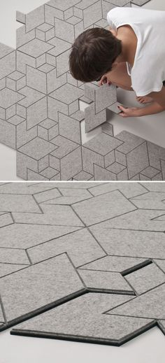 Cityscapes is a tiled felt textile that assembles into a geometric floor covering with a city-like grid