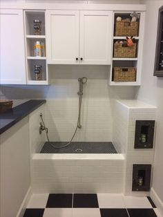 Really like this neat and practical arrangement. Doesn't take up too much space in a utility room and the elevated position makes it easier to access all of your dog for washing without being on your hands and knees
