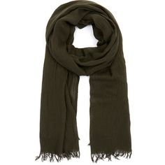 Theory Khaki Green Novelty Everyday Scarf (325 BRL) ❤ liked on Polyvore featuring accessories, scarves, brown, viscose scarves, brown scarves, brown shawl, green scarves and green shawl