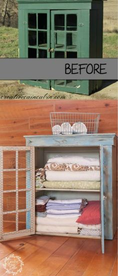 Turn an old cabinet into a linen closet