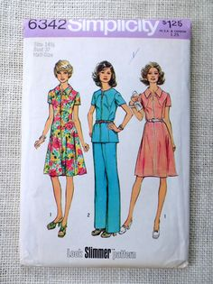 Simplicity 6342; ©1974; DRESS OR TOP AND PANTS IN HALF-SIZES...LOOK SLIMMER: The top stitched dress View 1 & 2 with princess seaming and