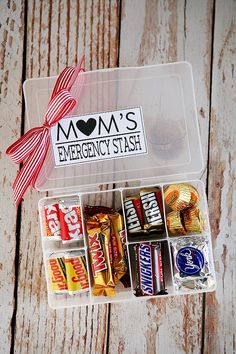 Mom's Emergency Candy Stash Mother's Day Gift Idea with Printable Gift Tag via Eighteen25 - What Mom or Grandma wouldn't love their own chocolate stash? The BEST Easy DIY Mother's Day Gifts and Treats Ideas - Holiday Craft Activity Projects, Free Printables and Favorite Brunch Desserts Recipes for Moms and Grandmas