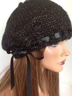 Beanie Slouch Beret Hand Knit Issac Mizrahi Yarn Designer Leather Like Band Tie #My4SeasonHandKnitsHandKnits2Love #BeretSlouchBeanieHatCap