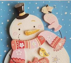 3D decoupage handmade embossed Christmas greeting card - lovely christmas, snowman with scarf and gloves having fun with two cute birds by ArtDenia on Etsy