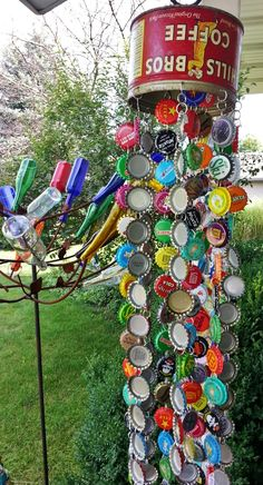 A friend mentioned that she was making a bottle cap wind chime and my mind started dancing! The principle is so simple and it can be put tog...