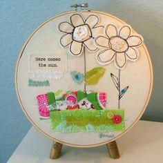 hoop art, appliqued hoop art, embroidery hoop art, fiber art, fabric collage, fabric wall hanging, applique art - No. 10. $15.00, via Etsy.