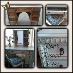 This is another makeover we did with a Jacobean style vanity. It's painted with Annie Sloan's chalk paint a mix of Duck Egg Blue and Old White. To see the entire transformation visit our Facebook page and search through our albums. https://www.facebook.com/RonisRescuedRelics