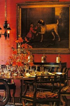 The dining room walls were covered in a dark orange moiré with contrasting chairs and sideboard.   (Image: Happy Times, Richard Champion)  Fifth Avenue to be near Jackie. Decorated by Renzo Mongiardino,