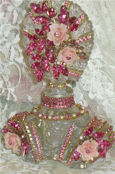 Antique Bejeweled Bottle 37 From The Collection  By Debbie Del Rosario-Weiss, Juliana,brush, comb, vintage, Clock,tray, mirror, perfume, antique, vintage, victorian, Sparkle,