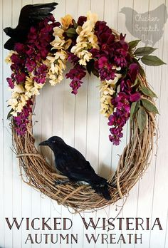Wicked Wisteria Halloween Wreath : DIY a gorgeous autumn wreath with a subtle Halloween vibe. Bunches of drooping wisteria and a cheeky pair of crows will welcome your guests all season long Holidays Halloween, Easy Halloween, Halloween Crafts, Halloween Decorations, Halloween Wreaths, Samhain Decorations, Pagan Halloween, Autumn Crafts, Holiday Crafts