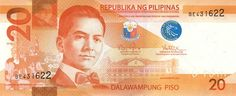 Philippine 20 Peso Bill   Obverse  Design: ▪ President Manuel L. Quezon  ▪ Filipino as the National Language ▪ Malacañan Palace  ▪ Seal of the Republic of the Philippines   Design Date: 2010   Hot Air Balloon Classroom Theme, Classroom Themes, Philippine Peso, National Language, Play Money, The Republic, Philippines, Instagram, Filipino