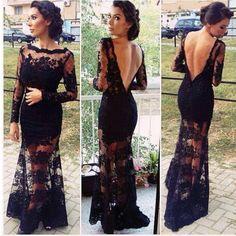 Das mulheres preto Floral Lace Vestido De Chiffon 2015 mais novo Backless Sexy formais vestidos De festa Vestido De Renda Vestido De noite longo em Vestidos de Noite de Casamentos e Eventos no AliExpress.com | Alibaba Group