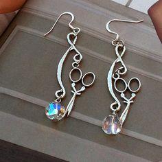 HairStylist Scissor EarringsClear Crystal by TheBohemianGypsy, $15.00