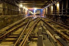 Subway tracks, NYC. A disused subway track, one of many miles in the New York City system.