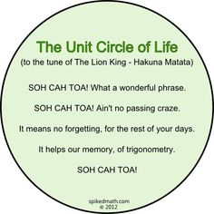 unit circle of life...this is just cheesy enough to actually be funny   ...though I did remember the phrase very well without the song