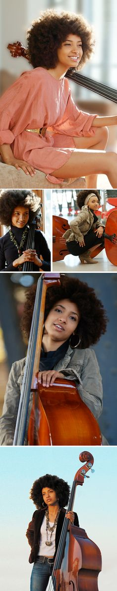 Esperanza Spalding (Welsh-Hispanic-Native American/African American) [American] Known as: Multiple Grammy Award Wining Jazz Singer & Bassist Winner of the Grammy Award for Best New Artist) Esperanza Spalding, Big Hair, Your Hair, Curly Hair Styles, Natural Hair Styles, Natural Beauty, Jazz, Natural Afro Hairstyles, Pelo Natural