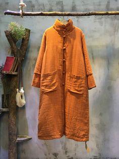 Stand Collar Front Pocket #Pankou #Chinese #Dress Loose #Cotton #Linen Dress