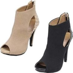 Faux-Leather Toe-Open Ankle Boots