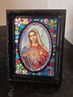 DIY, Virgin Mary, Picture Frame, hand decorated, glittered, icon, catholic, bejewelled,