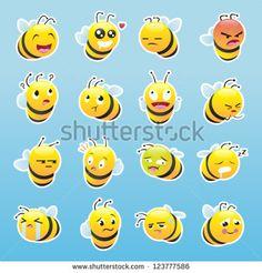 Bee Smiley Emoticon Set