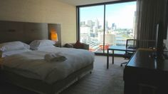 Hotel Review of a City View Room at the Hilton South Wharf Hotel in Melbourne, Australia by Wilson Travel Blog Conrad Hotel, Hilton Hotels, Melbourne Australia, Hotel Reviews, Family Travel, Adventure Travel, City, Room, Furniture