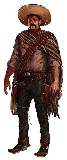 Characters Art for 'Plata de Ley' by charro-art on DeviantArt Character Concept, Character Art, Concept Art, Old West, Vampires, Westerns, West Art, Cowboy Art, Chicano Art