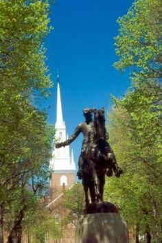 The signal for the steeple of Botons' oldest church triggered the war for independence.  Two lanterns in the steeple told Paul Revere that the British were approaching by boat.