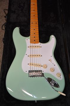 fender guitars Selling my 2012 Fender AVRI Surf Green Stratocaster---- Lindy Fralin Vintage Blues Pickups---In excellent are a few dings etc. that can be seen in pics. The wiring har Fender Stratocaster, Fender Guitars, Music Guitar, Guitar Amp, Cool Guitar, Banjo, Fender American Vintage, Cool Electric Guitars, Beautiful Guitars