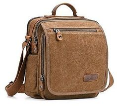 f0b91cb0c1 Plambag Canvas Messenger Bag Small Travel School Crossbody Bag Fit iPad  Coffee     See this great product.