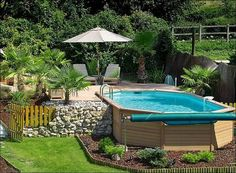 Pool, Amazing Above Ground Swimming Pool Design Apply In Spacious Backyard Decorated With Garden Umbrella Plus Wooden Fence Decoration Small...