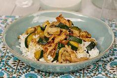 Soyamarinert kylling med sopp og ris
