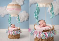 Newborn baby girl in hot air balloon prop, Melissa Landres Photography #Newborn #baby #photosession #newbornprops Baby pictures Rancho Mirage | www.melissalandres.com