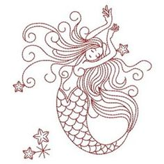 Mermaid design one - stitched in blue on white